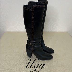 UGG TALL LEATHER HEELED BOOTS